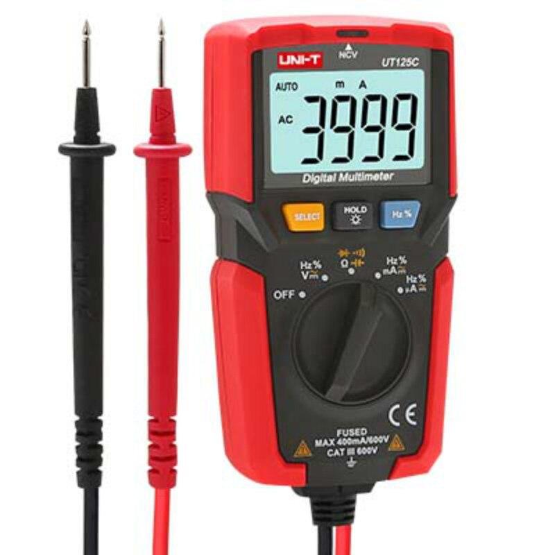 UNI-T UT125C Mini Pocket Digital Multimeter Temperature Tester Resistor Capacitor Frequency Diode NCV Test Low Voltage Display